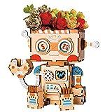 W&HH 3D Holzpuzzle, 3D-Holzroboter-Puzzlespiel, Kreative Blumentopf Aufbewahrungsbox Stifthalter...