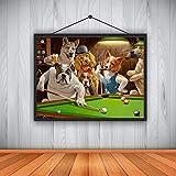 N / A Hochwertiger Leinwanddruck Hund spielt Billard Gott Ölgemälde Künstler Home Decoration...