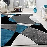Paco Home Designer Teppich Modern Geometrische Muster Konturenschnitt In Trkis Grau Schwarz,...