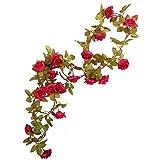 Li HUA Katze Rose Girlande Künstliche Rose Vine mit grünen Blättern 160cm Blumen Girlande für...