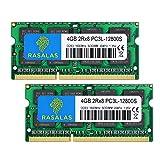 Rasalas 8GB Kit (2x4GB) PC3-12800 DDR3L 1600MHz SODIMM, 4GB DDR3 1600 2Rx8 PC3L-12800S 1.35V 204-Pin...