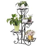 Malayas Blumentreppe 4 Ebenen aus Metall, Blumenständer für innen und außen Garten Balkon,...