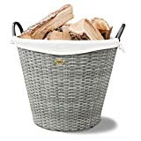 HABAU Feuerholzkorb mit Metallrahmen, grau, 54 x 54 x 44 cm