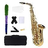 ammoon bE Alt Saxophon Blech Lackiertes Goldenes E Flache Sax 802 Taste Typ Holzblasinstrument mit...