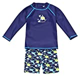 Landora®: Baby- / Kleinkinder-Badebekleidung langärmliges 2er Set Marineblau; in Größe 74/80