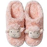 NVSRZTX Damen Hausschuhe aus Memory-Schaum, mit Kaninchenfell-Futter, rutschfeste Sohle, Pink, 37