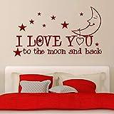 jiushivr Ich Liebe Dich bis zum Mond und zurück Sterne Zimmer Schlafzimmer Abziehbild abnehmbare...