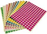 Runde Punktaufkleber,Farbetiketten 8mm Dot Klebepunkte 16 Farben/Blatt Farbkodierung Etikette 3900...