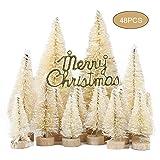 SYLOTS 59pcs Mini Sisal Schnee Frost Bäume Flaschenbürste Bäume mit Weihnachtskränzen Schnee...