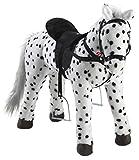 Heunec 723771 - schwarz-weiß gepunktetes Pferd stehend mit Sound 100 KG Tragkraft