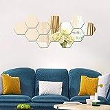 Valeny 12 Stück Wandspiegel Spiegelfliesen Aufkleber Hexagon-Spiegel aus Acryl Wandaufkleber für...