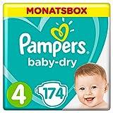 Pampers Baby-Dry Windeln, Gr.4, 9-14kg, Monatsbox, 1er Pack (1 x 174 Stück)