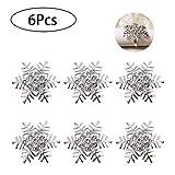 Delaspe Schneeflocke Serviettenringe 6Pcs Serviettenschnallen mit Diamant für Weihnachtsfeier...