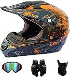 Amacigana® {Kinder MotocrossHelm + Handschuhe + Brille}Unisex Motorradhelm Cross Helme Schutzhelm...