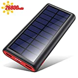 VOOE Solar Powerbank 26800mAh Externer Akku, Solar Ladegert mit 2 Ausgnge, Solar Power Bank mit...
