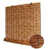 DLHXD Reed Vorhang, Natürliche Reed Vorhang,Retro Carbonization Bambusrollo,Sonnenschirm...