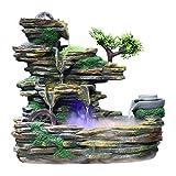Zidao Indoor Berg Stein-Brunnen DREI-Tier Wasserfall Und Atomizer Perfekte Desktop-Dekoration,M