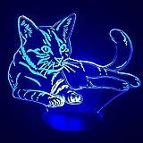 Nette Katze Nachtlicht Touch-Schalter Tier Lichtfarbe Illusion Tischlampe Heimtextilien billig als...