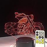 Motorrad 3D-Glühbirne Optische Täuschung Bunte Led-Tischlampe Touch Romantic Holiday Night Light...