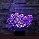 Neue Motorräder 3D-Leuchten 7 Bunte Fernbedienung 3D-LED-Nachtlicht Neuheit Luminaria LED...