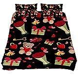 Eslifey Bettbezug-Set für Schlafzimmer, Teddybär, weich, 3-teilig, 150 x 200 cm, Mehrfarbig, Twin...