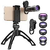 SEXTT Telefon Lens Kit, Handstativ 16X Telezoom-Objektiv 6 in 1 Telefon-Kamera-Objektiv-Kit