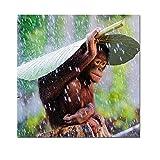N / A Leinwand Tiermalerei Baby AFFE mit Blättern, dekorative Malerei für Kinder Raum, um Regen zu...