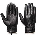 Acdyion Herren Winter Lederhandschuhe Touchscreen geeignet Wollfutter Handschuhe aus Echtleder,...