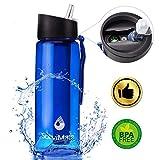 Wasserfilterflasche Trinkflasche Filter Wasserflasche Camping Wasseraufbereitung Entfernt 99.99%...