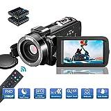 MELCAM Videokamera Camcorder, 1080P 30FPS Nachtsicht Camcorder Full HD Tragbare Vlogging-Kamera...