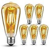 Edison Vintage Glühbirne E27, LED Vintage Glühbirne Warmweiß LED Lampen, Vintage Antike...