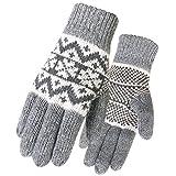 ALL IN ONE CART Damen Winterhandschuhe, warm, kuschelig, Wolle - Grau - Einheitsgröße