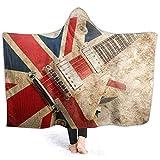 YOUKUHA Kinder Erwachsene Kapuze Decke Grunge British Pop Gitarrendruck Super Soft Plsch Throw...
