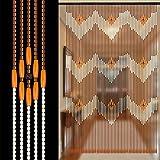 ZHOUXIAO 60 Stränge Holz Vorhänge Türschnur Wadvorhang für Türen, Raumteiler Vorhänge mit...
