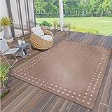 VIMODA Robuster Flachgewebe Teppich In- und Outdoor Tauglich, Farbe:Beige, Maße:160 x 230 cm
