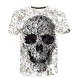 Herren Mode Freizeit 3D Schädel Printed T-Shirt Kurzarm Bluse Top Kurzarmshirt Rundhals Slim Fit...