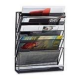 Relaxdays Zeitschriftenhalter Wand, Prospekthalter A4, Zeitschriften Wandhalter, Metall, HxBxT: 40 x...