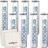 Kraftmax 8er-Pack Panasonic Eneloop AAA / Micro Akkus - Neueste Generation - Hochleistungs Akku...