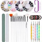 37 Stück Nail Art Brushes Set Striping Tape Aufkleber Strass Dekoration Dotting Manicure Set für...