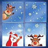 BLOUR Abnehmbare Weihnachts PVC statische Aufkleber Santa Elk Fenster Aufkleber Verschönern...
