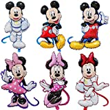 CYSJ 6 PCS Minnie Mouse Head Jumbo Foil Balloon,Mickey Themed Party Decorations Birthday Party Set,...