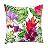 DQANIU Startseite Kissenbezug, natürliche Pflanze gedruckt Kissenbezug Polyester Sofa Auto Coffee...
