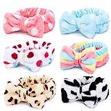 Bowknot Haarband für Make up - 6 Stück Kosmetische Stirnbänder Korallen Samt Elastisches Haarband...