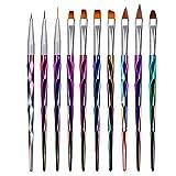 Mwoot 10 Teilig Nagel Pinsel Set, Nagel Kunst Malerei Zeichnung Pinsel Pen für UV-Gel und...