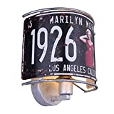 VINTAGE Wand Lampe USA Nummernschild Beleuchtung Monroe Dekor Leuchte Globo 15396W1