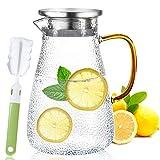 TWBEST Wasserkaraffe,Glaskanne,2 Liter Grosse Kapazität Glaskaraffe Mit Griff Drehbar Edelstahl...