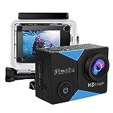 Piwoka Action Cam, Full HD 1080P 12MP Unterwasserkamera wasserdichte 30M Helmkamera 140...