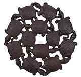 Baby Schildkröten Deko Trittstein Gehwegplatte Rost Braun Gusseisen 26cm breiter
