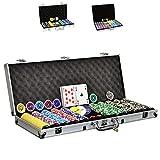SONLEX Pokerkoffer mit 300 500 1000 Laser Pokerchips 12 g abschließbar Pokerkarten Zubehör Deluxe...