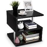 COSTWAY Beistelltisch schwarz, Sofatisch aus Holz und Metall, Kaffeetisch 3 Ebenen, Telefontisch...